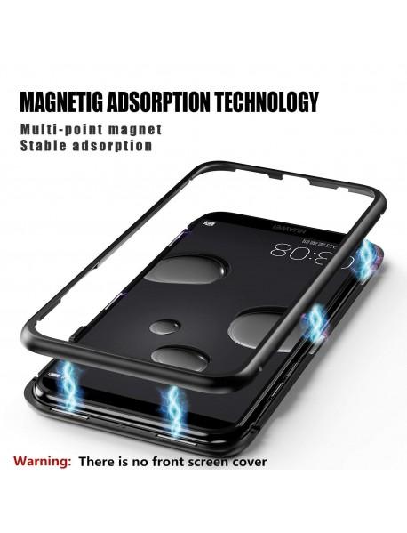 Husa Bumper Aluminium Magnetic 360 cu Fata si Spate de Sticla Securizata Huawei P20  Negru-Black
