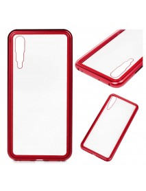 Husa Bumper Aluminium Magnetic 360 cu Fata si Spate de Sticla Securizata Huawei Mate 20 Lite  Rosu-Red