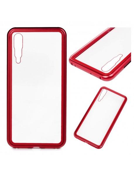 Husa Bumper Aluminium Magnetic 360 cu Fata si Spate de Sticla Securizata Huawei P20  Rosu-Red