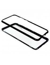 Husa Bumper Aluminium Magnetic 360 cu Fata si Spate de Sticla Securizata Huawei P20  Argintiu-Silver