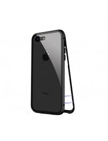 Husa Bumper Aluminium Magnetic 360 cu Fata si Spate de Sticla Securizata Samsung Galaxy A7 (2018) A750 Negru-Black