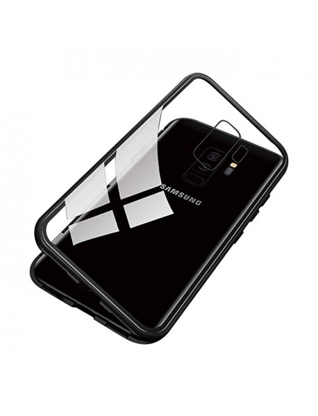 Husa Bumper Aluminium Magnetic 360 cu Fata si Spate de Sticla Securizata Samsung Galaxy A9 (2018) A920 Negru-Black