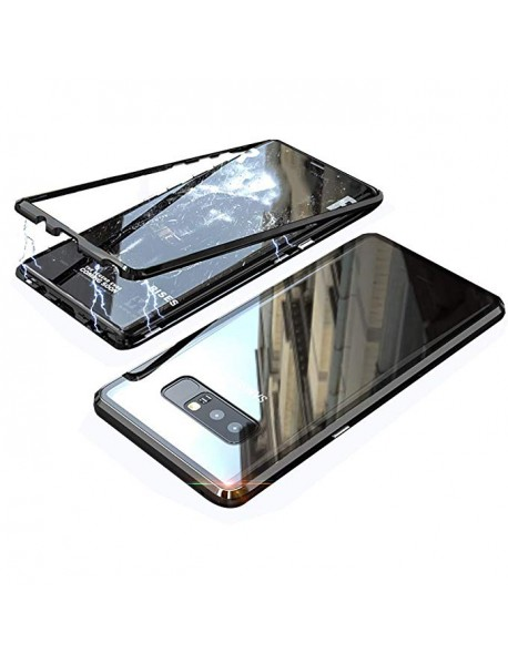 Husa Bumper Aluminium Magnetic 360 cu Fata si Spate de Sticla Securizata Samsung Galaxy J4 J400 Negru-Black