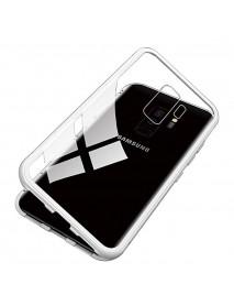 Husa Bumper Aluminium Magnetic 360 cu Fata si Spate de Sticla Securizata Samsung Galaxy A7 (2018) A750 Argintiu-Silver