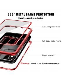Husa  Bumper Aluminium Magnetic 360 cu Fata si Spate de Sticla Securizata Apple Iphone XS Max Rosu-Red