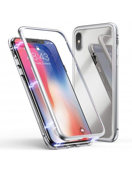 Husa  Bumper Aluminium Magnetic 360 cu Fata si Spate de Sticla Securizata Apple Iphone 7 Argintiu-Silver