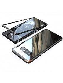 Husa  Bumper Aluminium Magnetic 360 cu Fata si Spate de Sticla Securizata Samsung Galaxy A9 Star Lite A605 Negru-Black