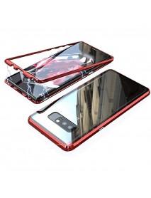 Husa  Bumper Aluminium Magnetic 360 cu Fata si Spate de Sticla Securizata Samsung Galaxy S9 G960 Rosu-Red
