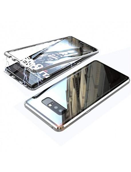 Husa  Bumper Aluminium Magnetic 360 cu Fata si Spate de Sticla Securizata Samsung Galaxy J6 J600 Argintiu-Silver