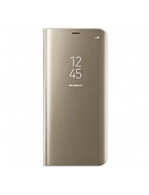 Husa Flip Stand Clear View Oglinda Samsung Galaxy J7 Pro J730 Auriu-Gold