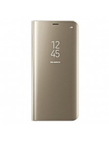 Husa Flip Stand Clear View Oglinda Samsung Galaxy J3 (2017) J330 Auriu-Gold