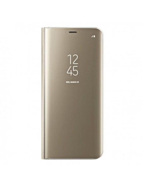 Husa Flip Stand Clear View Oglinda Samsung Galaxy A9 (2018) A920 Auriu-Gold