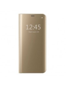 Husa Flip Stand Clear View Oglinda Huawei Mate 20 Pro  Auriu-Gold