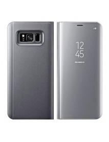 Husa Flip Stand Clear View Oglinda Samsung Galaxy J3 (2017) J330 Argintiu-Silver
