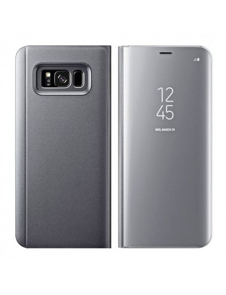Husa Flip Stand Clear View Oglinda Samsung Galaxy A9 (2018) A920 Argintiu-Silver