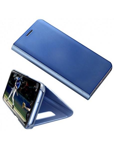 Husa Flip Stand Clear View Oglinda Samsung Galaxy A8+ Plus 2018 A730 Albastru-Blue