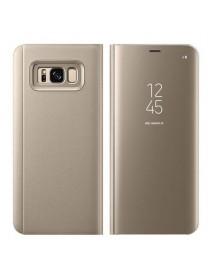 Husa Flip Stand Clear View Oglinda Samsung Galaxy S8 G950 Auriu-Gold