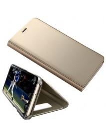 Husa Flip Stand Clear View Oglinda Samsung Galaxy J4 J400 Auriu-Gold