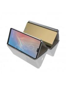 Husa Flip Stand Clear View Oglinda Huawei Mate 10 Lite  Auriu-Gold