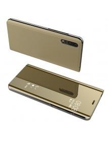 Husa Flip Stand Clear View Oglinda Huawei Mate 20 Lite   Auriu-Gold