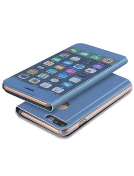 Husa Flip Stand Clear View Oglinda Apple  Iphone XS Albastru-Blue