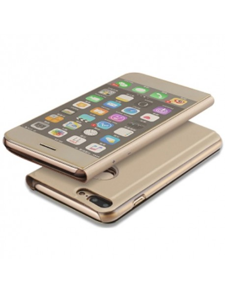 Husa Flip Stand Clear View Oglinda Apple  Iphone XS Auriu-Gold