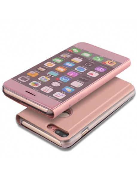 Husa Flip Stand Clear View Oglinda Apple Iphone XS Max Roz-Rose