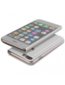 Husa Flip Stand Clear View Oglinda Apple Iphone 6 Argintiu-Silver