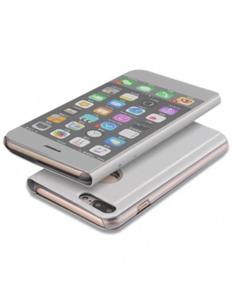 Husa Flip Stand Clear View Oglinda Apple  Iphone 6 Plus Argintiu-Silver