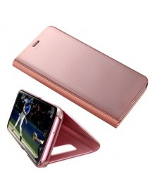 Husa Flip Stand Clear View Oglinda Samsung Galaxy A8+ Plus 2018 A730 Roz-Rose