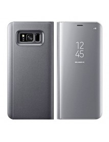 Husa Flip Stand Clear View Oglinda Samsung Galaxy S8 G950 Argintiu-Silver
