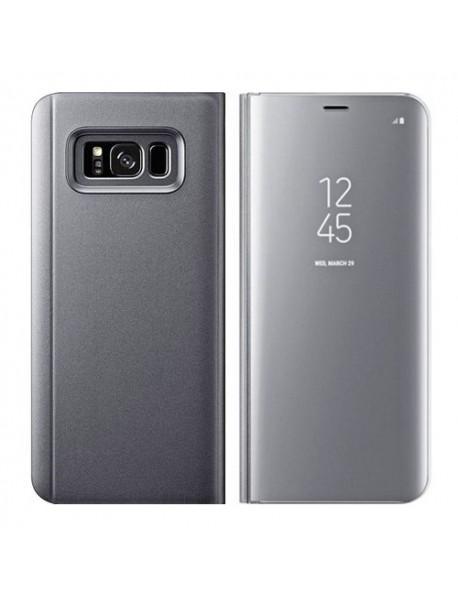 Husa Flip Stand Clear View Oglinda Samsung Galaxy A50 2019 A505 Argintiu-Silver