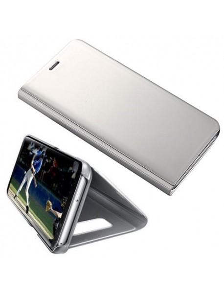Husa Flip Stand Clear View Oglinda Samsung Galaxy J7 2018 J737 Argintiu-Silver