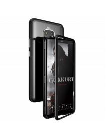 Husa Bumper Aluminium Magnetic 360 cu Spate de Sticla Securizata Huawei P20  Negru-Black