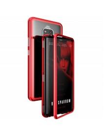 Husa Bumper Aluminium Magnetic 360 cu Spate de Sticla Securizata Huawei Mate 20 Pro  Rosu-Red