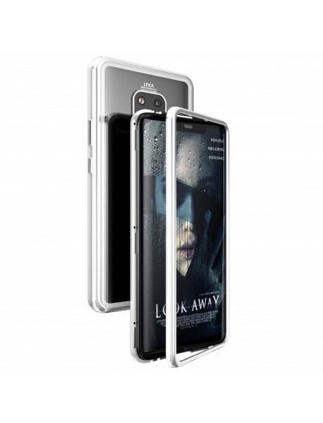 Husa Bumper Aluminium Magnetic 360 cu Spate de Sticla Securizata Huawei P20  Argintiu-Silver