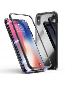 Husa Bumper Aluminium Magnetic 360 cu Spate de Sticla Securizata Apple iPhone XR  Negru-Black