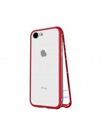 Husa Bumper Aluminium Magnetic 360 cu Spate de Sticla Securizata Apple iPhone 7 Plus  Rosu-Red