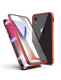 Husa Bumper Aluminium Magnetic 360 cu Spate de Sticla Securizata Apple iPhone XS  Rosu-Red