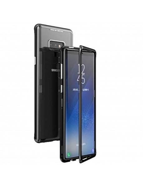 Husa Bumper Aluminium Magnetic 360 cu Spate de Sticla Securizata Samsung Galaxy A9 (2018) A920 Negru-Black