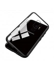 Husa Bumper Aluminium Magnetic 360 cu Spate de Sticla Securizata Samsung Galaxy Note 9 N960 Negru-Black