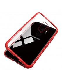 Husa Bumper Aluminium Magnetic 360 cu Spate de Sticla Securizata Samsung Galaxy Note 9 N960 Rosu-Red