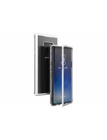Husa Bumper Aluminium Magnetic 360 cu Spate de Sticla Securizata Samsung Galaxy Note 9 N960 Argintiu-Silver