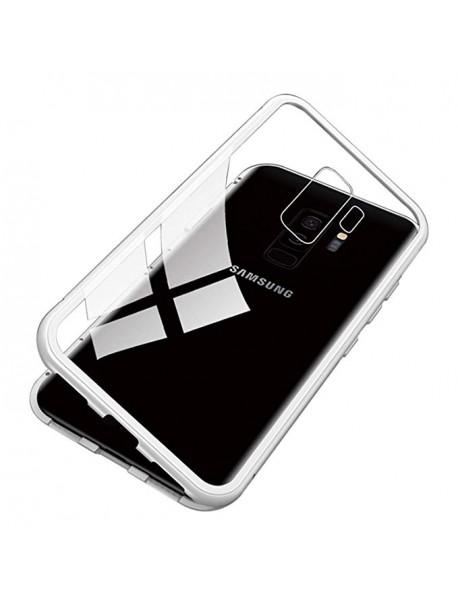 Husa Bumper Aluminium Magnetic 360 cu Spate de Sticla Securizata Samsung Galaxy J4 Plus J415 Argintiu-Silver