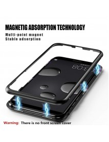 Husa  Bumper Aluminium Magnetic 360 cu Spate de Sticla Securizata Huawei P20 Lite  Argintiu-Silver