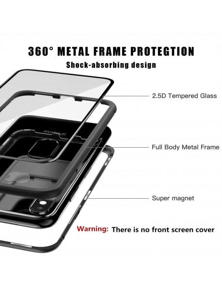 Husa  Bumper Aluminium Magnetic 360 cu Spate de Sticla Securizata Apple Iphone 7 Negru-Black