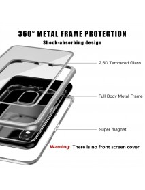 Husa  Bumper Aluminium Magnetic 360 cu Spate de Sticla Securizata Apple Iphone XS Max Argintiu-Silver