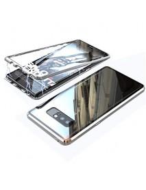 Husa  Bumper Aluminium Magnetic 360 cu Spate de Sticla Securizata Samsung Galaxy A7 2018 A750 Argintiu-Silver
