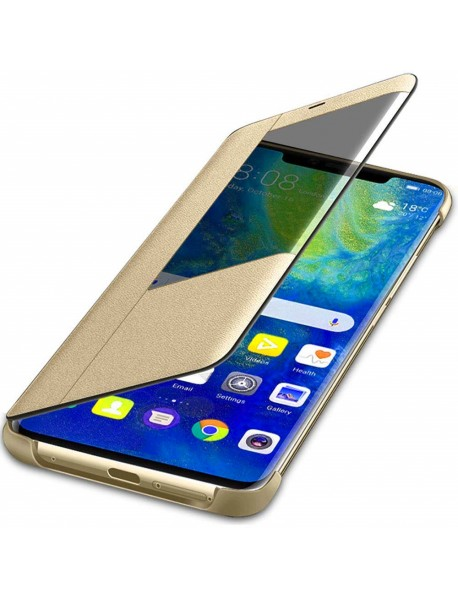 Husa Flip Book Smart View Cover Huawei Mate 20 Pro  Auriu-Gold