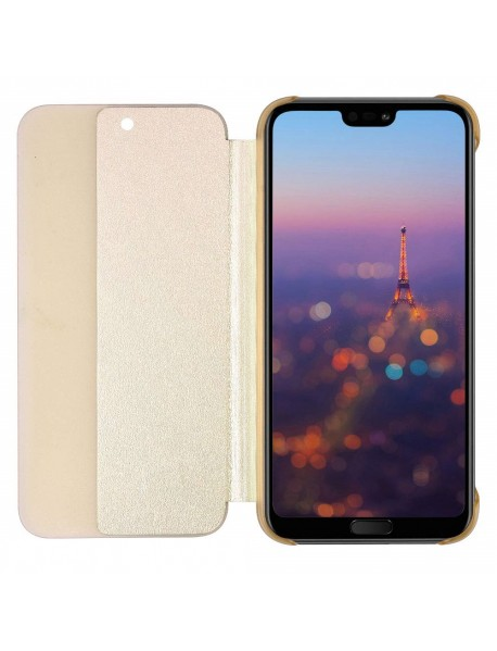 Husa Flip Book Smart View Cover Huawei Mate 20 Lite   Auriu-Gold